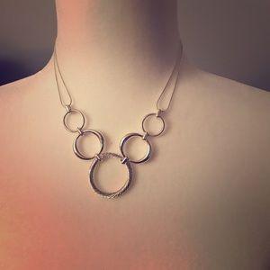 Silver tone costume necklace